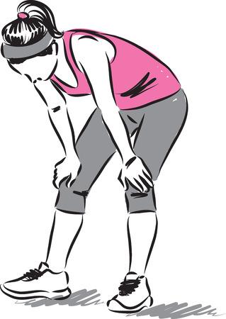 女性ランナー疲れて図  イラスト・ベクター素材