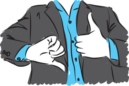 ok sign language: businessman showing wrong and right hand gestures Illustration