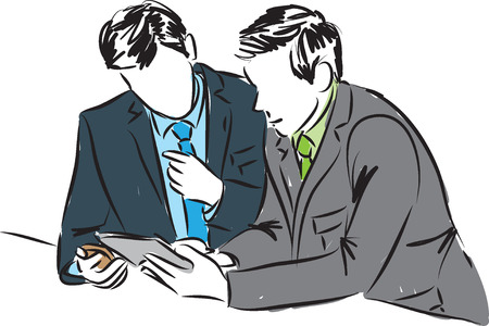 businessmen with electronic tablet and phone illustration Illustration