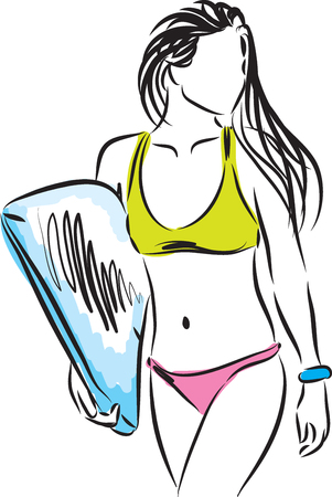 stock art: SURFER girl illustration