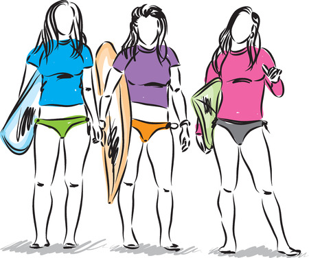 swimwear: surfers girls illustration