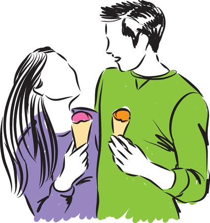 woman eating: happy couple eating ice cream illustration
