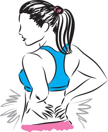 woman back: woman back pain illustration