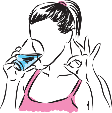 woman drinking glass of water illustration