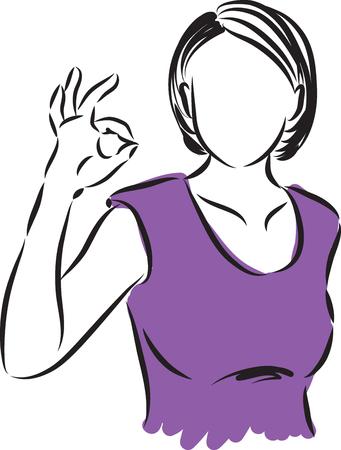 mujer que hace todo gesto ilustración de la derecha