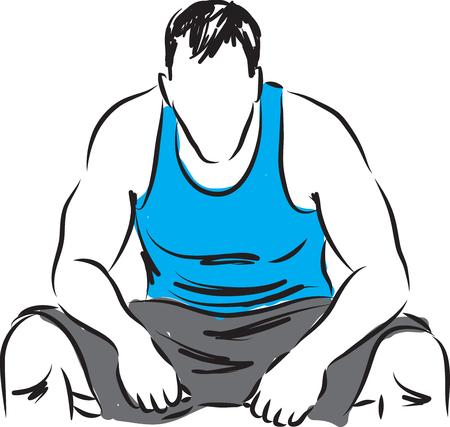 tired man: man fitness tired resting illustration