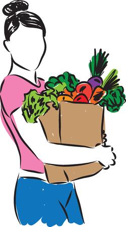 girl illustration: woman with grocery bag illustration Illustration