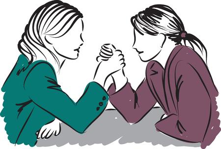 forces: business women measuring forces illustration Illustration