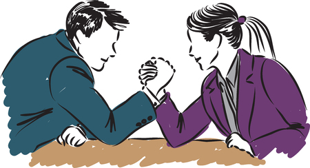 business man and woman measuring forces illustration