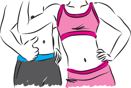 weight loss: fitness couple illustration Illustration