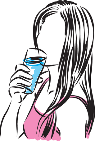 young girl nude: woman drinking glass of water illustration