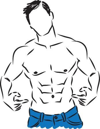 male model torso: man fitness showing belly illustration