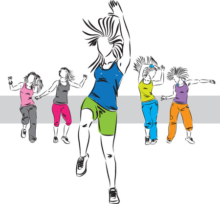 zumba dancers group illustration C 矢量图像