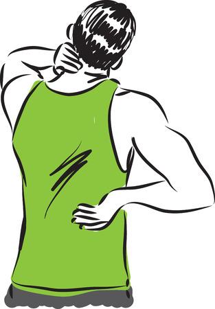 man back pain: man back pain illustration