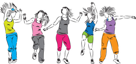 zumba dancers group illustration 矢量图像
