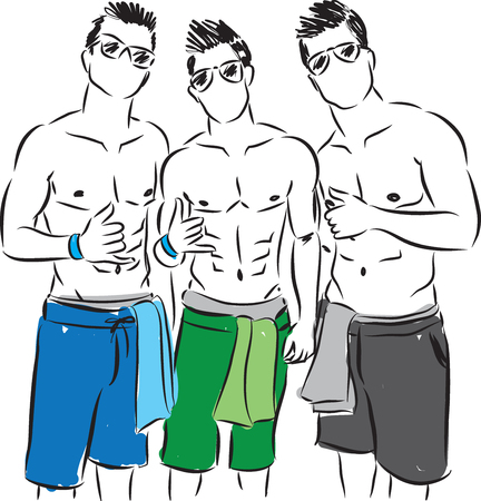 vector image: cool boys at the beach illustration