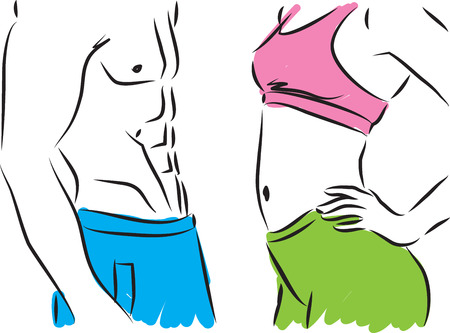 flexible girl: man and woman fitness bodies illustration