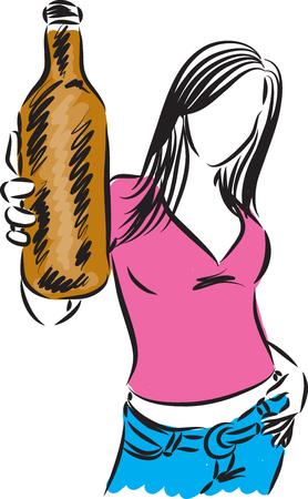 meisje verhogen flesje bier illustratie