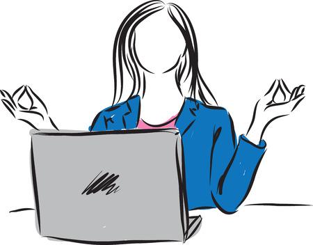 meditate: woman working and meditating illustration
