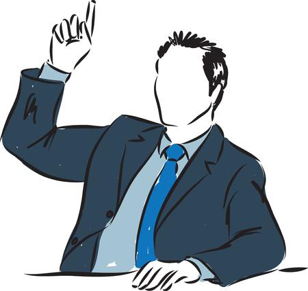 participation: BUSINESSMAN RAISING HAND ILLUSTRATION