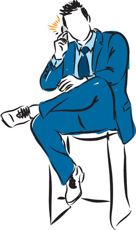 phoning: businessman sitting with a phone Illustration