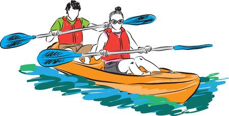 couple man and woman in kayak illustration Vettoriali