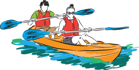 couple man and woman in kayak illustration Illustration