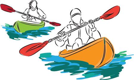 piragua: del hombre y de la mujer y dos ilustración kayak Vectores