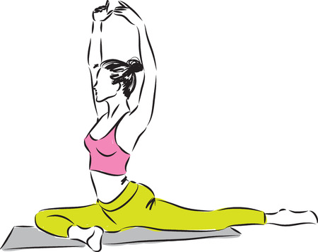 leg warmers: woman fitness stretching illustration