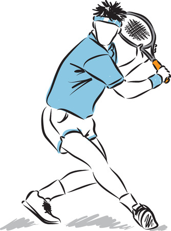 stock art: tennis player illustration