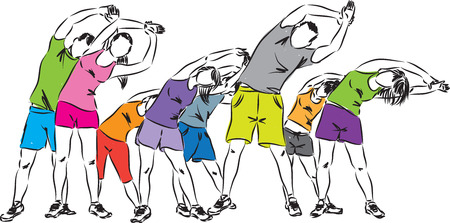 group of people exercising illustration