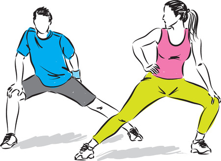 workout gym: fitness couple stretching illustration Illustration