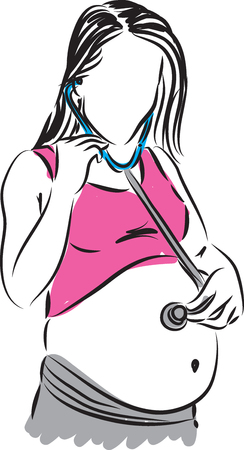 stock photograph: pregnant mother listening her belly with stethoscope illustration