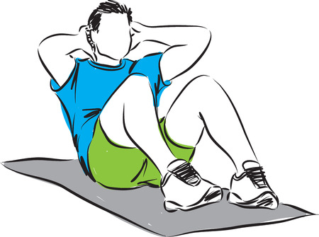 sportsmen: man workout illustration