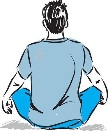 posture: man in meditation posture illustration