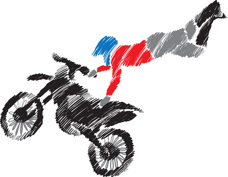 motocross riders: motocross jump illustration Illustration