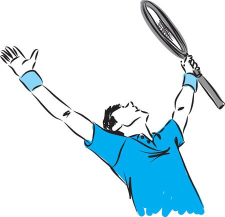 tennisser winnaar gebaar illustratie