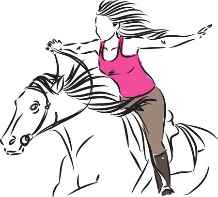 WOMAN RIDING HORSE liberty concept illustration Illusztráció
