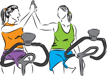 health and fitness: women at gym illustration
