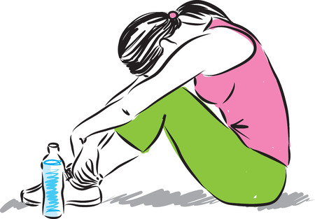 line drawing: woman fitness tired illustration Illustration