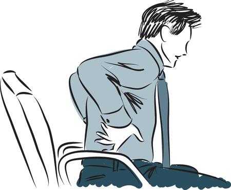 businessman back pain illustration Vectores