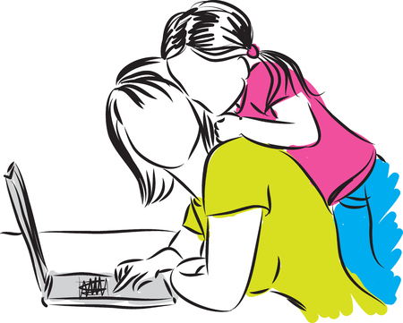 girl laptop: MOM AND DAUGHTER AT COMPUTER illustration
