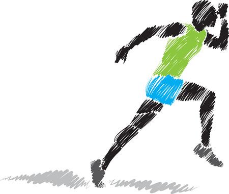 male athlete: runner brush illustration