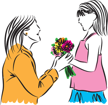 giving gift: girl giving flowers to her mother illustration