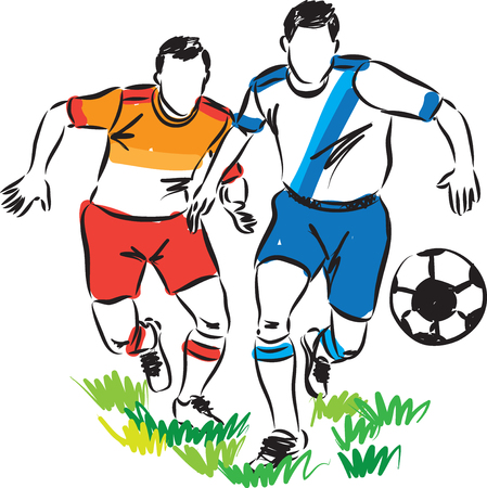 match: football soccer players illustration