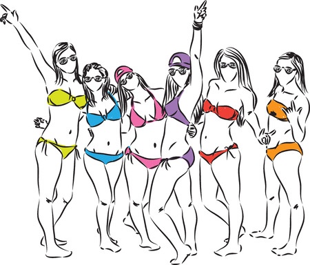 free clip art: girls at the beach having fun illustration