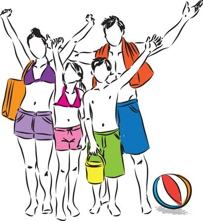 maillot de bain: famille à la plage illustration