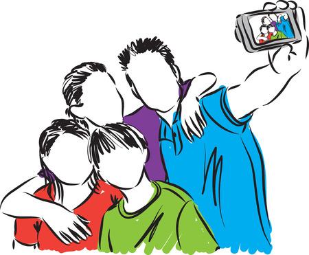 taking: family taking a photo illustration