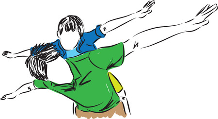 FATHER ANS SON FLYING GESTURE FREEDOM ILLUSTRATION
