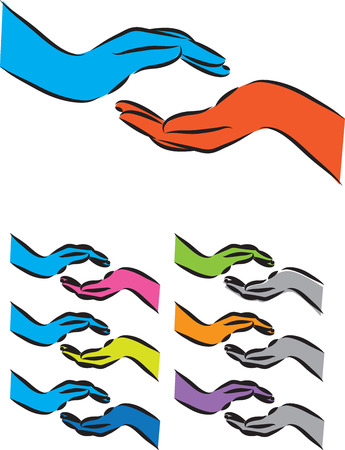 human touch: hands illustration giving receiving gesture
